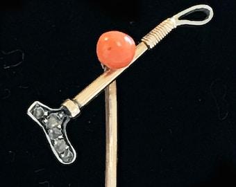 Edwardian 15ct, 15k, 625 Gold Diamond & Coral, Polo stick, stick pin Circa 1901