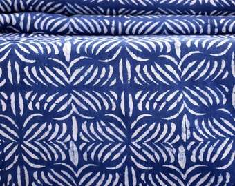 Sold By Yard Indigo Blue Cotton Batik Cotton Fabric, Shibori Mud cloth fabric,Hand Block Print Fabric, Indian Printed Cotton Fabric Abstract