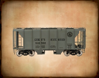 Personalized Train Print - Hopper Car - Gifts for Boys - Boys Room Decor - Ideas Photo Nursery Art Gift Ideas pp108