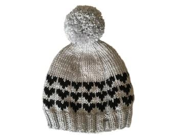 Heart Beanie Pom Pom Hat / Womens Pom Pom Beanie / Womens Winter Hat / Cute Beanie / Womens Pom Pom Hat / Hand Knit Hat/ Knitted Pom Pom Hat