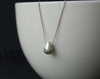 Brushed Sterling Silver Teardrop Pendant, Sterling Silver Pendant, Sterling Silver Brushed Teardrop Necklace