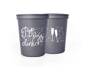 Silver with White Cups - Pop Fizz Clink Party Cups - NYE Party Cups - New Years Eve Party Cups