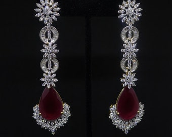 Rustic Red Dangle Earrings