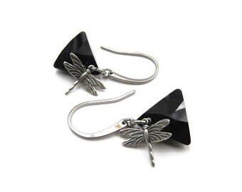Silver Dragonfly Triangular Swarovski Crystal Element Earrings (ERSS107)