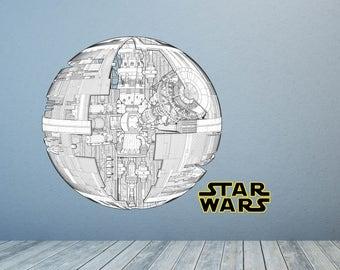 Death Star Wall Decal, Star Wars Art Decor, Star Wars Decal, Schematic Death Star Decal, Death Star Mural, Star Wars Kid's Room Designs
