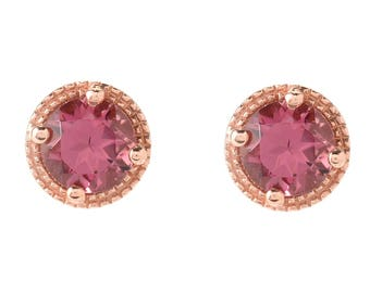 """18K Rose Gold Over Sterling Silver 0.9ctw Pink Tourmaline Studs Earrings 0.26""""L"""