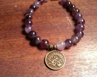 Zodiac Aquarius symbol gemstone bracelet