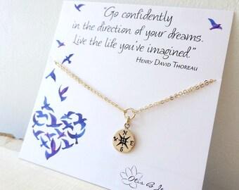 Compass BRACELET, High school grad gift, college graduation gift for her, otis b, Go Confidently Thoreau quote, congratulations graduate