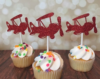 Airplane Cupcake Toppers, Airplane Birthday Party Decorations, Airplane Theme Cupcakes, Airplane Baby Shower, Up Up Away Party Decorations