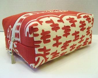Coral Print Boxy bag, Cosmetic Bag, Boxy Pouch, Travel Bag, Bag Organizer, Toiletry Storage Bag, Zipper Pouch, Boxy Pouch, Makeup Bag