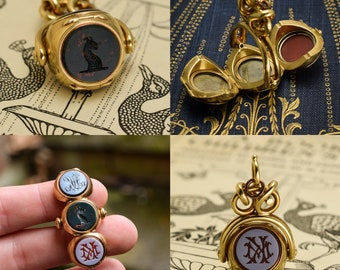 Antique Early Victorian Three Seal Spinner Fob with Locket, Circa 1840