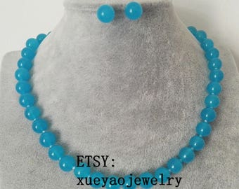 jade set - jade necklace , jade earrings, 10 mm blue jade necklace & earrings set