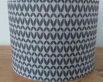 Handmade contemporary 'Siru' charcoal grey geometric print on natural linen/cotton blend fabric drum lampshade