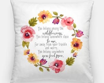 Tom Petty Lyrics - Nursery Decor - Wildflowers Nursery - Lyrics Nursery Quotes - Floral Nursery Accent Decor - Floral Wreath - Throw Pillow