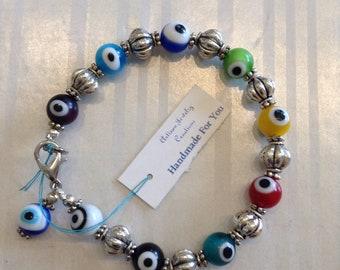 "Handmade For You 7"" Tibetan Silver Rainbow Glass Evil Eye Sterling Silver Plated Beaded Bracelet Ward Off Evil Lobster Clasp B104"