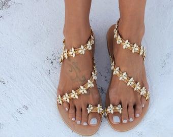"Sandals, Greek Leather Sandals, Handmade Sandals ""Santorini White"", Wedding shoes"
