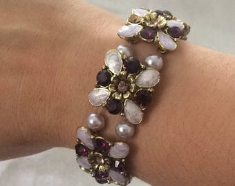 Purple, lavender and gold bracelet