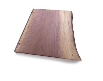 Walnut Wooden Notebook Wood Journal Sketchbook Rustic Wood Wedding Guest Book Personalized Journal Refillable Journal  Custom Journal