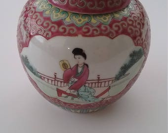 Chinese hand painted ginger jar with lid