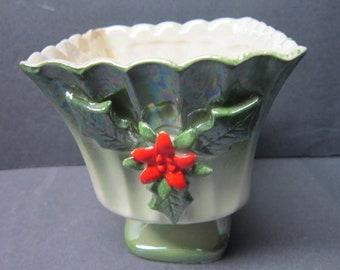 Lefton Vase Norcrest Green Planter Holiday Red Poinsettia