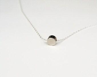 Tiny SilverDot Necklace/ Small Circle Necklace