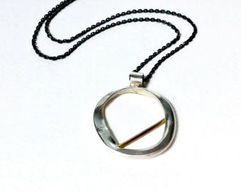 Open Circle Necklace, Open Circle Pendant, Brushed Silver Jewelry, Organic Jewelry, Organic Necklace, Contemporary Jewelry, Modern Jewelry
