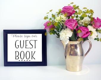 Wedding Guest Book Table Sign - Trendy Cursive Style Wedding Sign - DIY Downloadable Sign Guestbook Wedding Signs - Printable PDF & JPG File