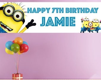 2 X Personalised Children's Birthday Banners Minions Despicable Me