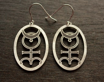 ALCHEMY SYMBOL EARRINGS sterling silver occult earrings Monas Hieroglyphica alchemy silver earrings