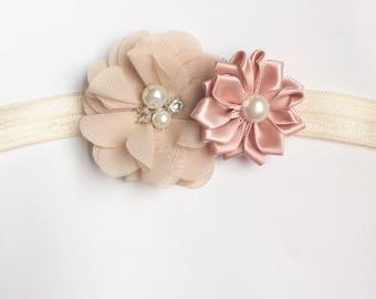 Ivory Flower Headband, blush headband, champagne headband, baby wedding headband, flower girl gift, baby headband baby shower