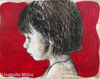 "painting ""Mine 6"" red background portrait girl"