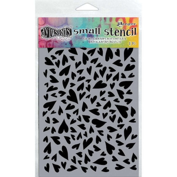 """Dyan Reaveley's Dylusions Stencils 5""""X8""""  small groovy heart designs perfect for mixed media, scrapbooking, journaling and so much more"""