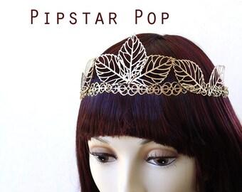 Gold Filigree leaf vein Woodland Elven Princess Crown (3 color option)(CR18) Medieval princess crown Larp,renaissance fair,wedding circlet