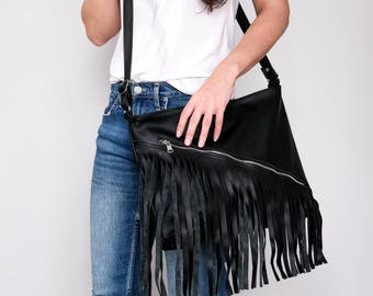 LEATHER FRINGE Bag, Shoulder Bag, Crossbody Handbag, Women's Handbag, Leather Fringe Hobo, Gift for Her, Leather Hobo Bag, Black Leather Bag