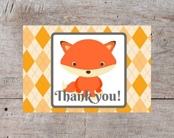 Baby Thank You Cards, Fox Card, Cute Thank You Cards, Baby Shower Thank You, Thank You Cards, Fox Thank You Cards