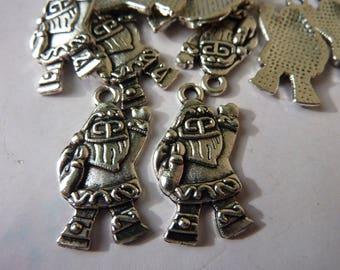 cute Santa Claus metal 4 charms silver 23x11mm
