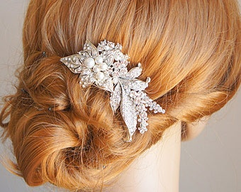 Bridal Hair Comb, Vintage Style Bridal Hair Accessories, Swarovski Crystal and Pearl Wedding Hair Comb, Flower Leaf Wedding Hairpiece, MAITE
