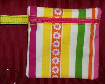 Handmade - Colorful Retro zippered Pouch  - Keychain Wallet Coin Gift Card Holder