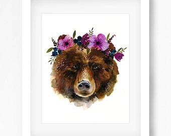 Floral Bear Print