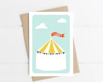 Circus Thank You Printable Card, Boy Circus, Circus Tent, Red Flag, Thanks, Circus Party