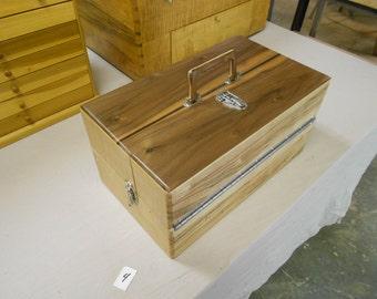 Handmade wooden fishing tackle box