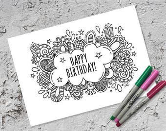 Happy Birthday Colouring Page & Folded Card | Instant Digital Download | Original Doodle Design
