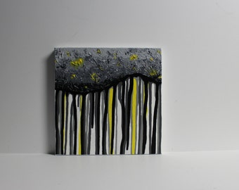 Abstract Dripping Cloud - Gray Grey Yellow Black - Texture - Textured - Runny Liquid - Office - Living room - Gradient - Original - 10x10