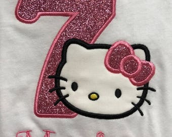Personalized Hello Kitty Inspired Birthday Shirt for Girls! Machine Embroidered Appliqued