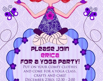 """Yoga Birthday Party Invitation & Thank you note, custom printable invitation 5 x 7"""" + FREE instant download Yoga Blessing"""