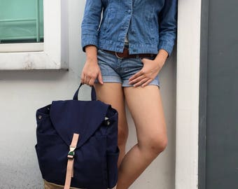Navy Blue canvas backpack ,Diaper Leather strap,laptop rucksack , travel bag  ,School unisex backpack -Sale 25% -   // no.108 //