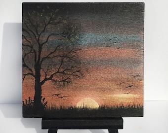 Tree at dusk -   silhouette - miniature miniature limited edition print mounted on wood