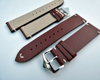 Brown Leather Watch Band, Smooth leather, Hand Stitched Watch Strap,  20mm or 22mm Watch Band, Includes Tool & Pins - Item 12074bn