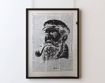 Sea Captain Poster, Screen Printed Dictionary Art, Vintage Dictionary Print, Art Print, Wall Decor, Sea Captain Print, Screen Print Poster