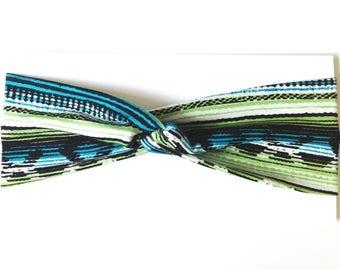Green Navajo Print Cotton Turban Headband